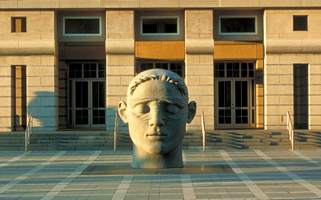 "3 of 3: Head of Justice, 1991, GFRC Concrete, 11' x 8'8"" x 9', Martin Luther King Jr, Federal Courthouse, Newark, NJ"