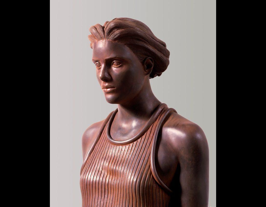 "3 of 14: Figure in Stripes, 2001, Carbon Steel6'5"" x 19"" x 20"""
