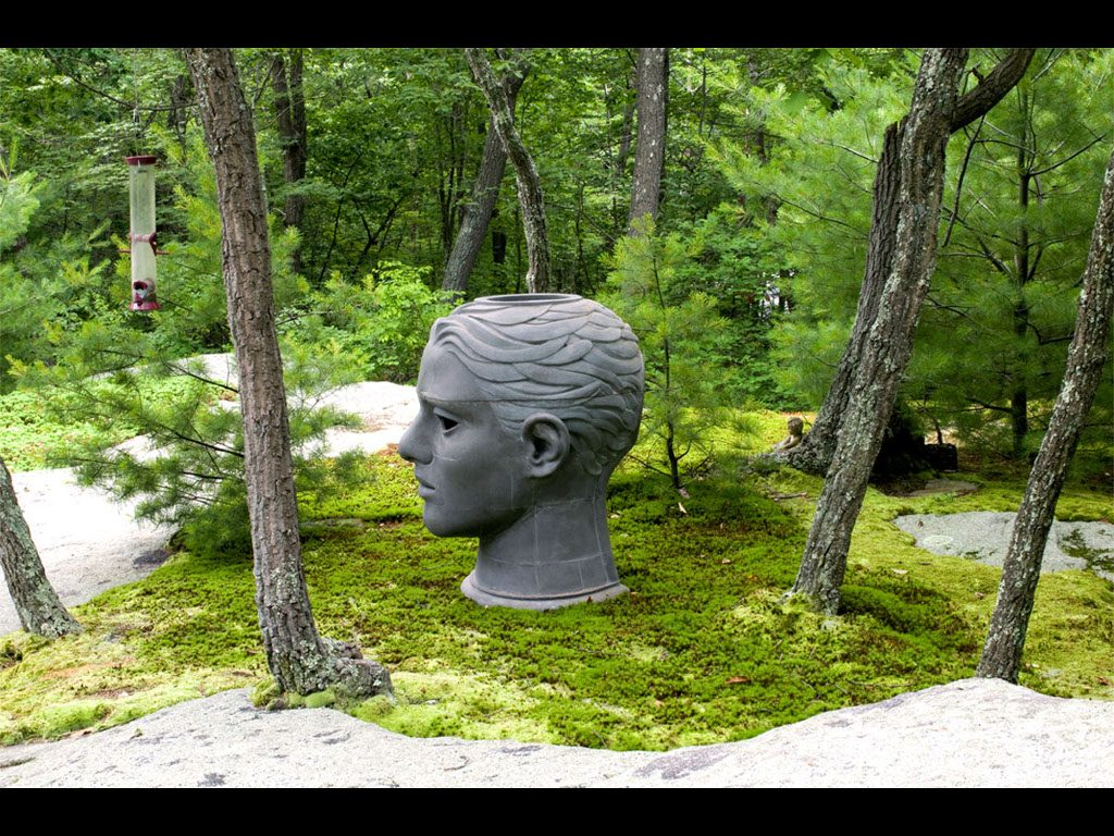 "3 of 4: Headroom, 2000, GFRC Concrete, 46"" x 32"" x 42"", Silvermine Arts Center, New Canaan, CT"