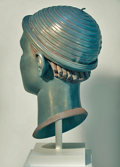 "11 of 21: Blue Head with Cap, 2010, Forton MG, 15"" x 8"" x 9¼"""