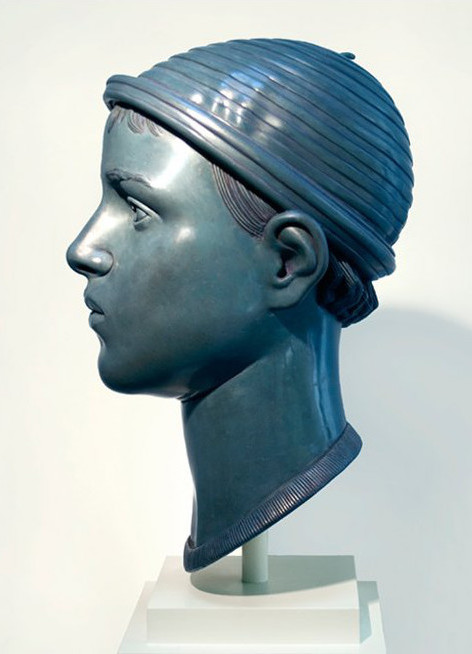 "10 of 21: Blue Head with Cap, 2010, Forton MG, 15"" x 8"" x 9¼"""