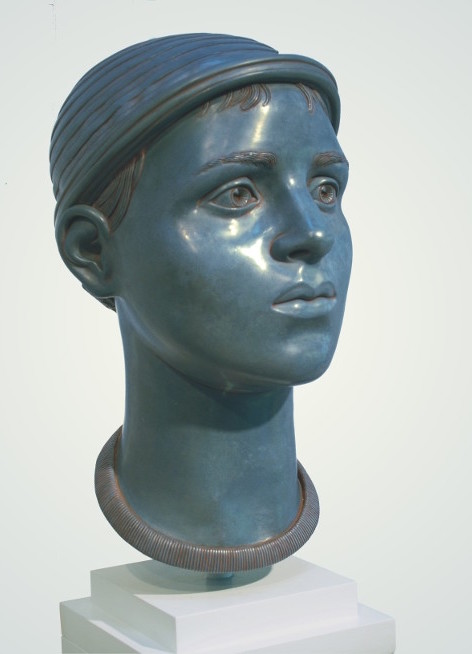 "9 of 21: Blue Head with Cap, 2010, Forton MG, 15"" x 8"" x 9¼"""
