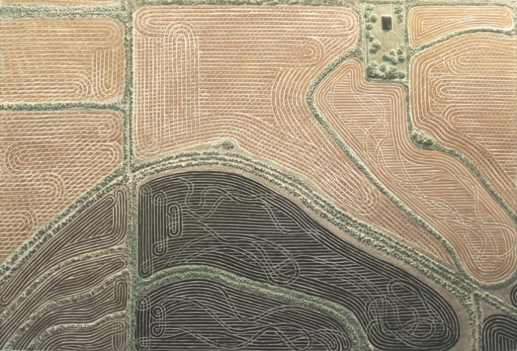 """15 of 18: Homestead or Hillock, 2013, Forton MG, 11"""" x 14⅝"""" x ¾""""Click to enlarge"""