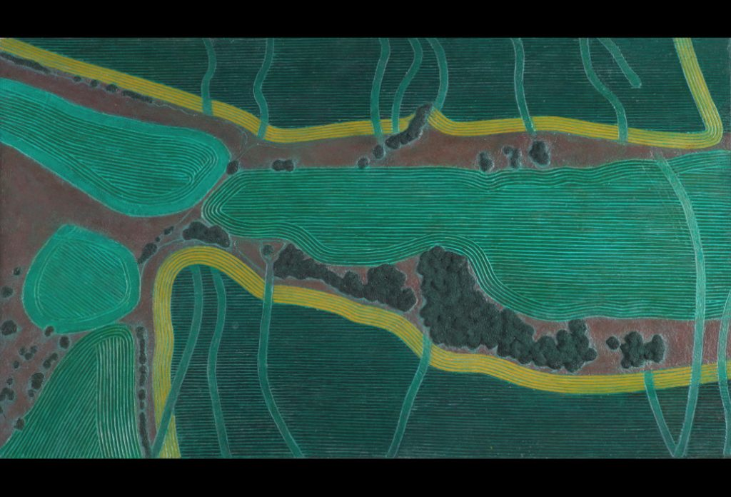 "22 of 32: Green Fields with Gold Bands, 2017, Forton MG, 11"" x 19⅛"" x ¼""Click to enlarge"