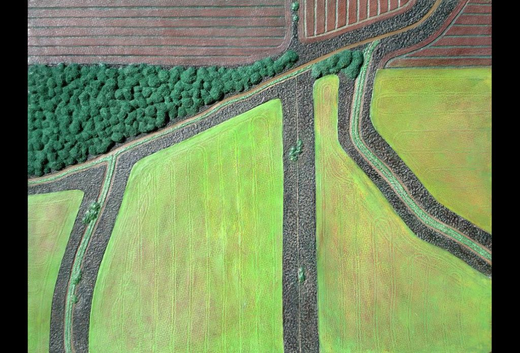"14 of 23: Field Geometry 2, 2018, Forton MG, 11"" x 14½"" x ¼""Click to enlarge."
