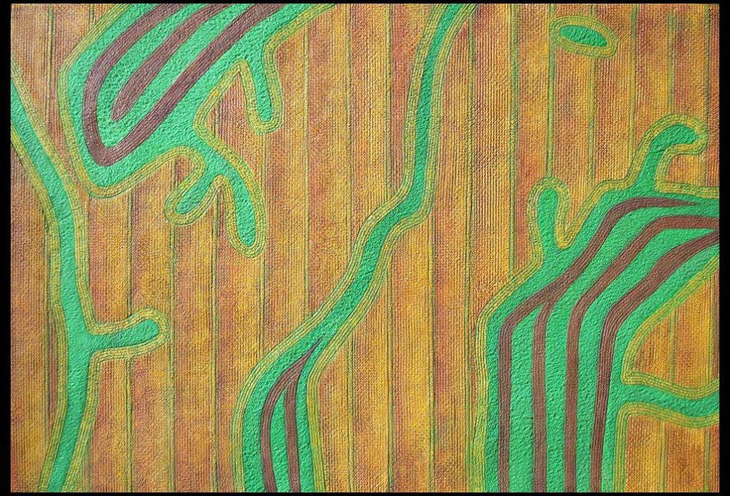 "28 of 32: Gold Fields with Green Fingered Fields, 2018, Forton MG, 13"" x 19"" x ¼""Click to enlarge."