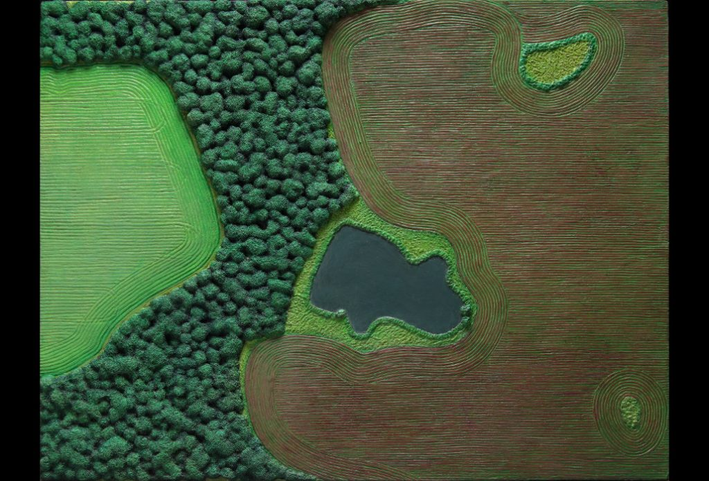 "32 of 32: Pond With Red and Green Fields, 2018, Forton MG, 11"" x 14⅜"" x ¼""Click to enlarge"