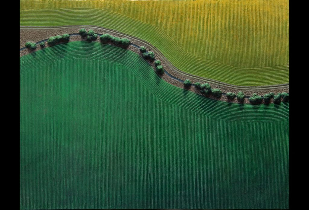 "1 of 32: Stream Through Green and Gold Fields, 2018, Forton MG, 11"" x 14¼"" x ¼""Click to enlarge"