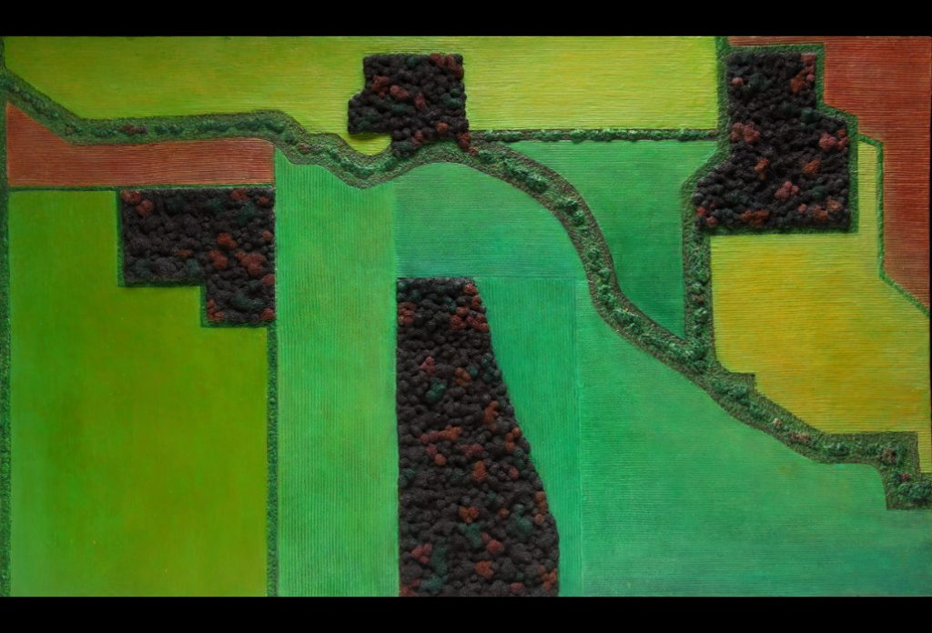"""2 of 25: Field Geometry 4 Tree Islands in the Fall, 2018, Forton MG, 13"""" x 21½"""" x ½""""Click to enlarge"""