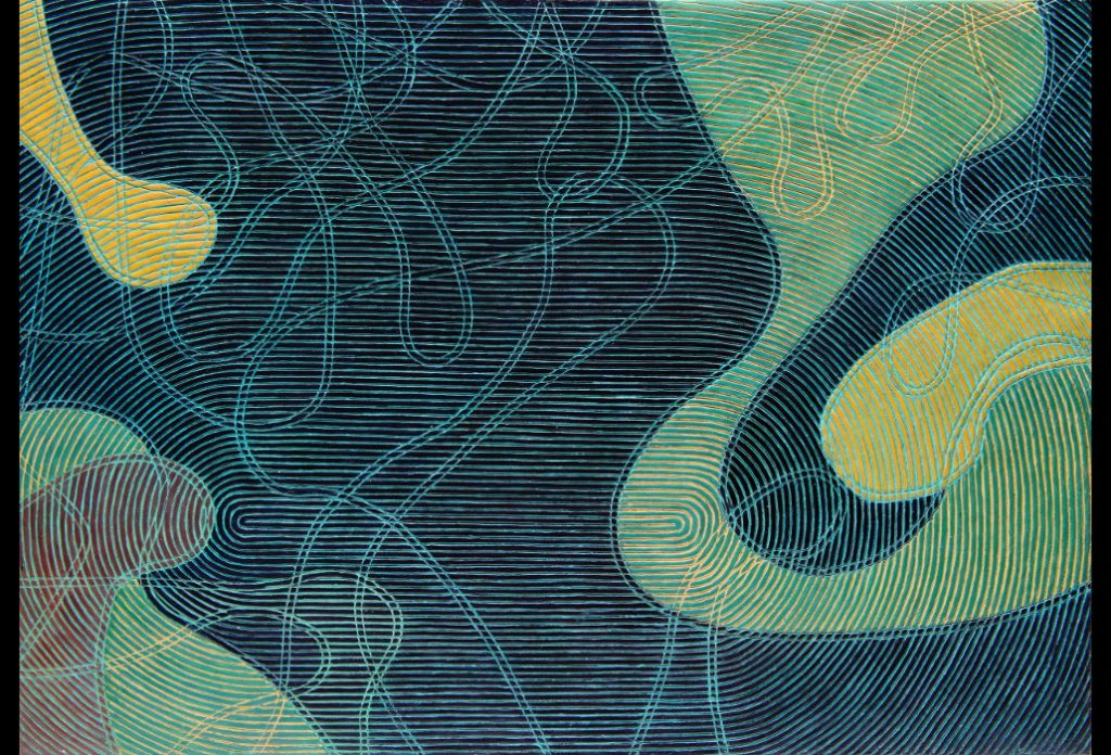 """15 of 25: Rotating Lines 1, 2017, Forton MG, 11"""" x 15¾"""" x ½""""Click to enlarge"""