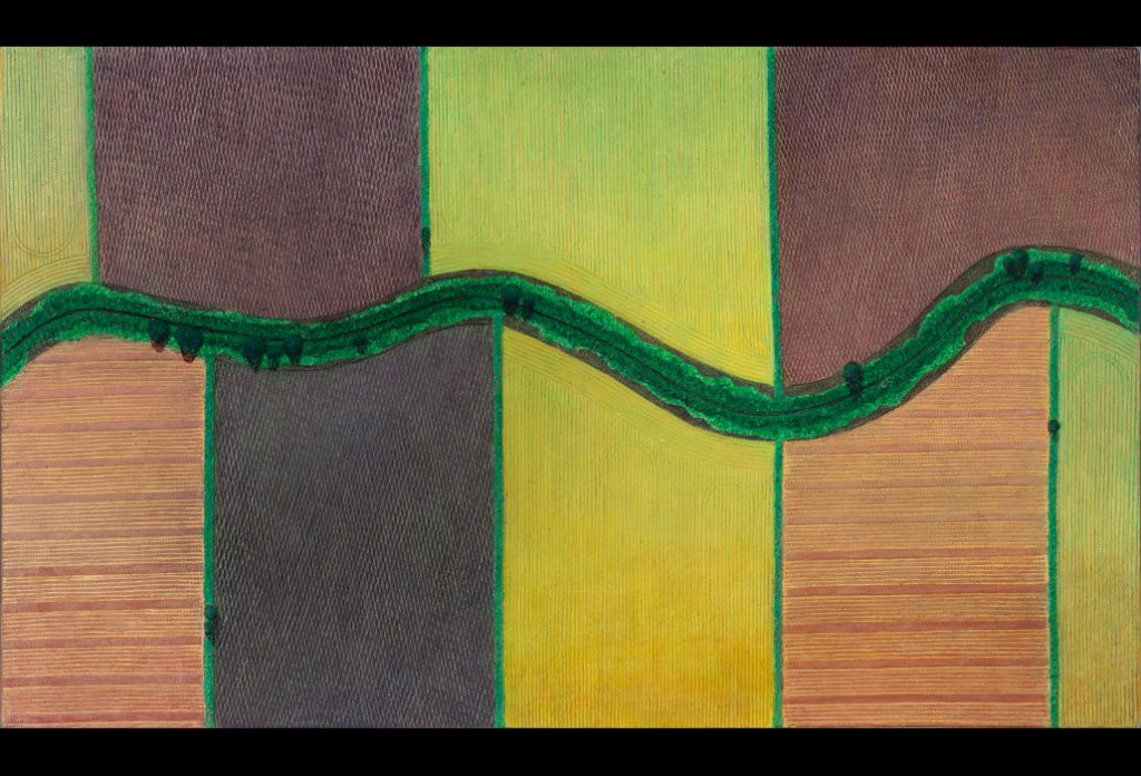 "7 of 32: A Stream Through Fields in Bloom: 2019, Forton MG, 13"" x 22"" x ¼""Click to enlarge"