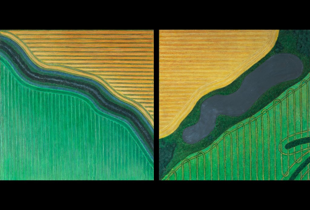"13 of 32: Study in Greens and Golds: 2019, Forton MG, 8"" x 8"" x ¼"" (2)Click to enlarge"
