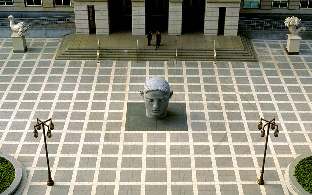 """2 of 3: Head of Justice, 1991, GFRC Concrete, 11' x 8'8"""" x 9', Martin Luther King Jr, Federal Courthouse, Newark, NJ"""