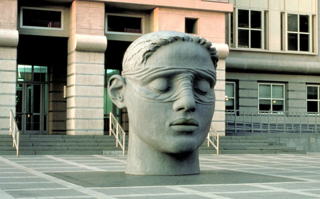"""1 of 3: Head of Justice, 1991, GFRC Concrete, 11' x 8'8"""" x 9', Martin Luther King Jr, Federal Courthouse, Newark, NJ"""