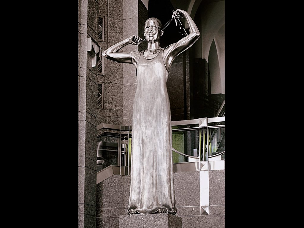 """1 of 3: Figure of Justice, 1998, Stainless Steel, 9'6"""" x 29"""" x 29""""Warren B. Rudman Federal Courthouse, Concord, NH"""
