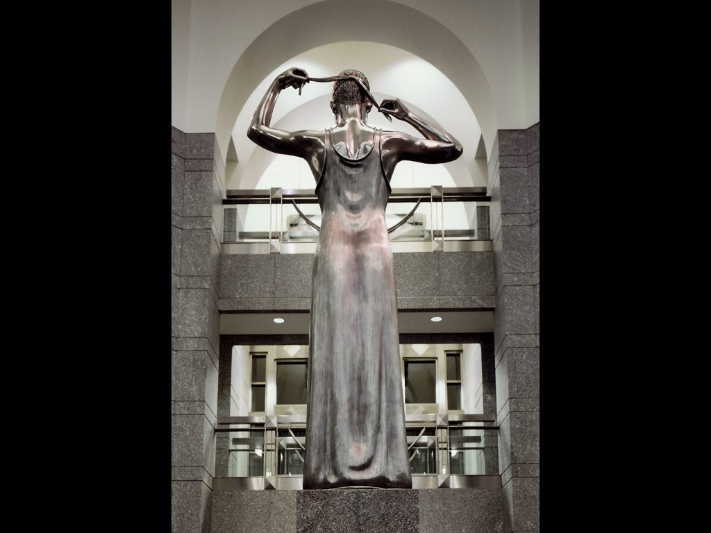 """3 of 3: Figure of Justice, 1998, Stainless Steel, 9'6"""" x 29"""" x 29""""Warren B. Rudman Federal Courthouse, Concord, NH"""